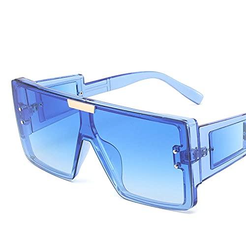 De Moda de una Pieza Grande Marco Gafas de Sol templos Ancho Cuadrado Decorativo Decorativo Gafas de Sol Femenino Macho Gafas de Sol de Gran tamaño UV400-C2 Azul Azul