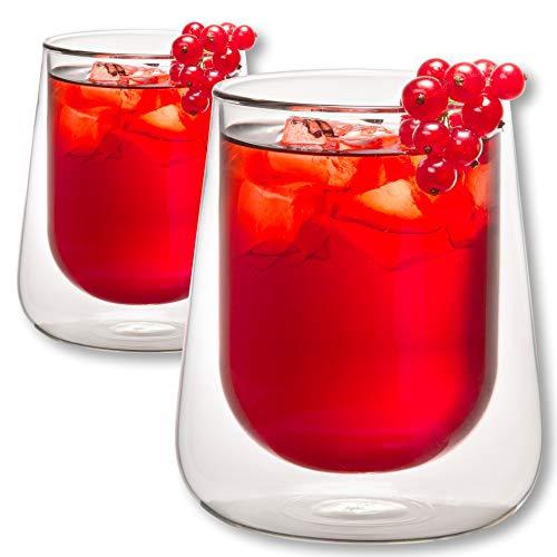 1aTTack.de 833291 Trink Thermo-Glas 320 ml doppelwandig Modell Lara für Heiß- und Kaltgetränke 2-Stück