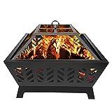 SXROMDA Chimenea de fuego al aire libre de leña de 26 pulgadas chimenea extra profunda grande cuadrada exterior patio trasero calentador de cuatro esquinas hogar jardín chimenea