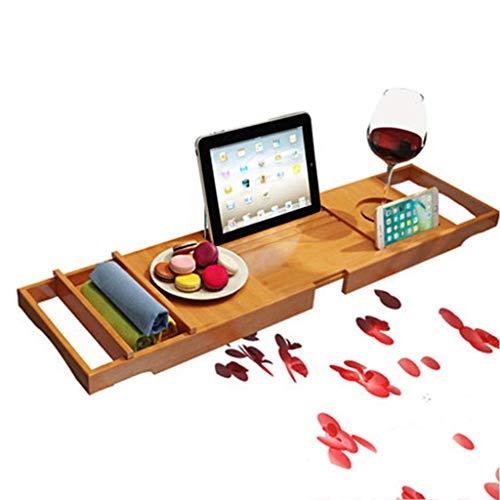 XHLLX Bandeja de baños de bañera Caddy Rack de baño con Vidrio de Vino/para iPad/Soporte para teléfono Inteligente, Libro a Prueba de Agua