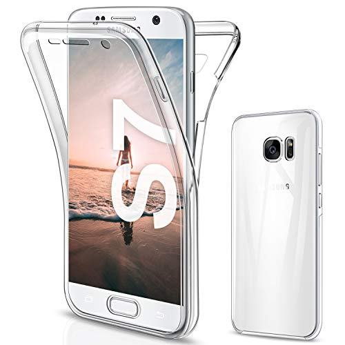 SOGUDE Coque pour Samsung S7 Etui, Samsung S7 Coque Transparent Silicone TPU Case Intégral 360 Degres Full Body Protection Coque Housse pour Samsung Galaxy S7