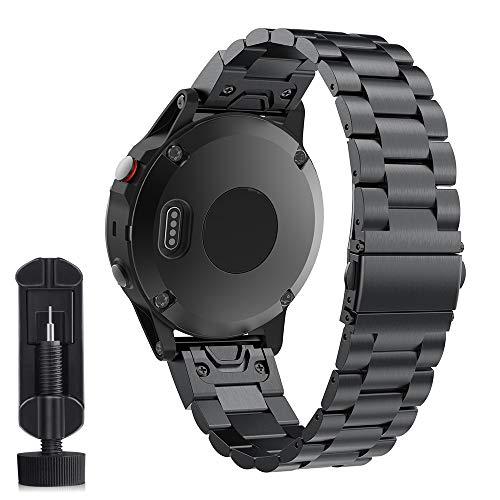Cytech Cinturino per Garmin Fenix 5X/Fenix 5X Plus/Fenix 6X/Fenix 6X PRO/Fenix 3/Fenix 3 HR, Easy Fit Cinturino in Acciaio Inossidabile Ricambio Extendable (Nero)
