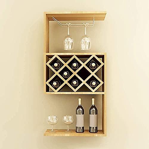 Mueble pared de vino estante para estantes de la taza de la copa de Estilo simple para el restaurante Sala de estar Estante de vino con 1 soporte de copa 47.2x23x107cm 8 Grid 3-capa-LightwalnutColor