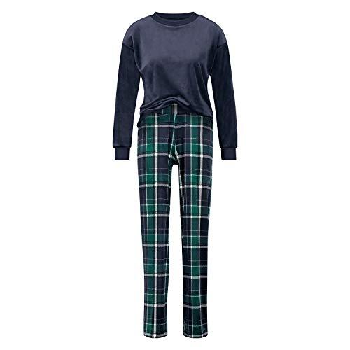 HUNKEMÖLLER Damen Velour Pyjama-Set Blau XS