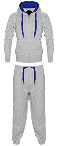 Vanilla Inc ® Junior Trainingsanzug mit Kapuze für Jungen, Jogginganzug, Oberteil, Hose, Fußball, Boxen, Kampfsport, Fitness, Yoga, Laufen, Fitnessstudio Gr. 13 Jahre, Grau und Blau