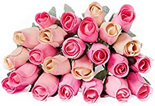 24 Realistic Wooden Roses - Pink and Cream Rose Buds - Shades of Pink