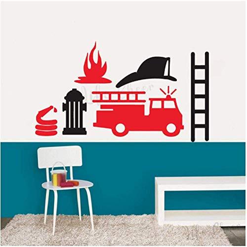 Decoración De La Sala De Juegos Para Niños Juego De Camiones De Bomberos Pegatinas De Pared Equipo De Bomberos Vinilo Calcomanía De Pared De Dibujos Animados Camión De Bomberos Mural Etiqueta 57Cmx33Cm