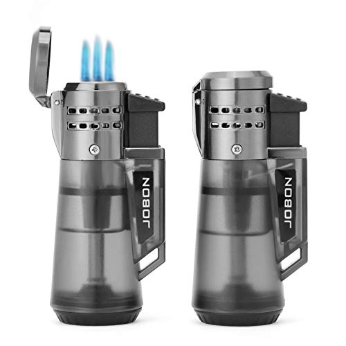 Yusud Cigar Lighter Torch, Butane Lighter Fluid Refillable, 2 Pack Windproof Triple Fire Jet Lighters with Gas Visible Window, Cool Table Lighters Unique Gift for Men