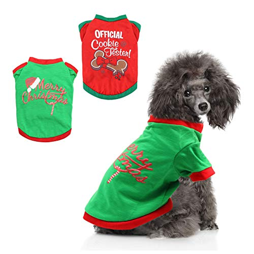 BWOGUE 2 Pack Christmas Dog Shirts for Pet Clothes Soft Breathable Puppy Shirts Printed Pet T-Shirt...