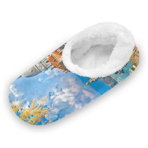 TropicalLife Ghypt House Pantofole Calzini Venezia Costruzione Barca Paesaggio Memory Foam Piedi Fuzzy Pantofole Comfort Caldo Casa Indoor OutdoorVenezia Costruzione Barca Paesaggio, (Multi), XX-Large