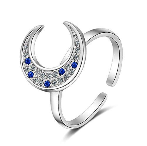 Boowohl - Anillos de plata de ley 925 para mujer, anillos de alianza, alianzas, anillos de compromiso, anillo abierto, luna, zafiro, circonita 5A