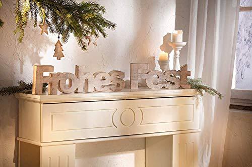 Dekoleidenschaft 2tlg. Schriftzug Frohes Fest aus Holz, weiß, im Shabby Look, Weihnachtsdeko, Adventsdeko