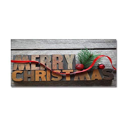 Teppichläufer Küchenteppich Wohnzimmer Eingangsbereich Flur Küche gekettelt strapazierfähig pflegeleicht,Einfache Weihnachten Brief Ribbon Print 7MM Dicke Bad Teppich,40X120CM