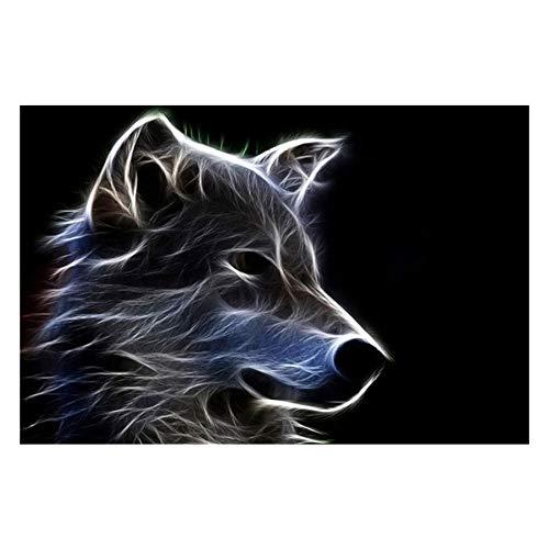 WZADXY Home Decor Gerahmtes Poster Gedruckte Leinwand 1 Stück Fantasy Furry Wolf Abstrakte Malerei Wohnzimmer Coole Tiere Bilder Wandkunst