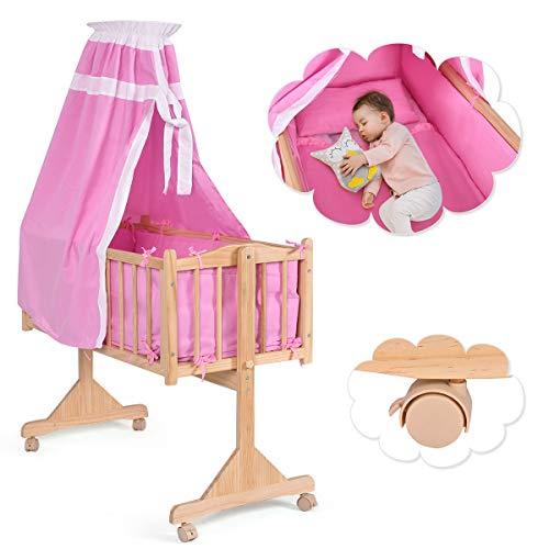 COSTWAY Stubenwagen Babywiege Schaukelwiege Babybett Holz Insekenschutz Matratze 3 Farben(Rosa)