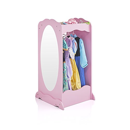 Guidecraft Dress Up Cubby Center  Pink: Costumes & Accessoires Storage Shelf and Rack with Mirror for Little Girls and Boys - Toddlers Wooden Wardrobe Closet