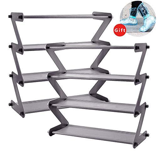 MIAOKE 8-Paar Schuhregale Lagerung 4 Tier, Kunststoff Schuhhalter Ständer Veranstalter Regal Z-Form...