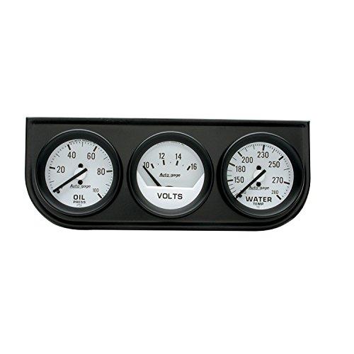 AUTO METER 2327 Autogage Mechanical Oil/Volt/Water Gauge with Black Console Autometer Autogage Mechanical Oil