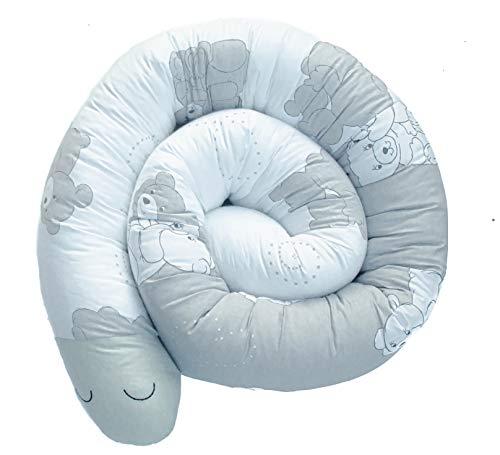 homedekor cama serpiente 210 cm x 13 cm - hecho a mano en la UE - borde de cama nido serpiente almohada rollo rejilla protectora de cama - protección contra caídas y de bordes para cuna (oso)