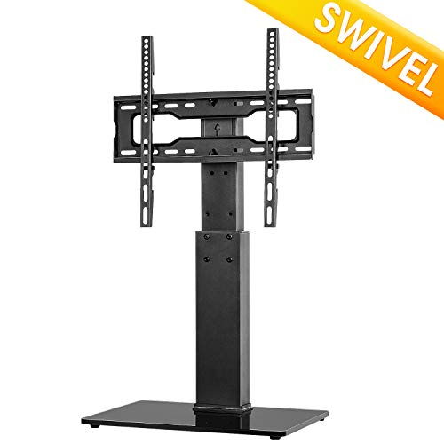 5Rcom Universal Swivel Tabletop TV Stand with Mount for 37 40 42 47 50 55 60 65 70 inch Flat or Curved Screen TVs with Tempered Glass Base Height Adjustment,VESA 400x400mm