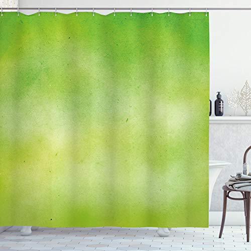 ABAKUHAUS Lime Green Duschvorhang, Verblasste Aquarelle, mit 12 Ringe Set Wasserdicht Stielvoll Modern Farbfest & Schimmel Resistent, 175x200 cm, Apfelgrün