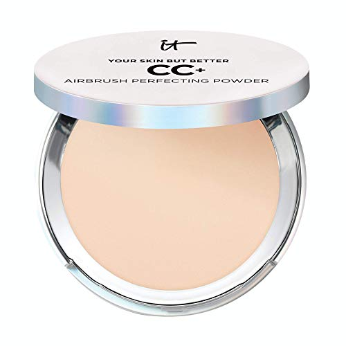 IT Cosmetics Your Skin But Better CC+ Airbrush Perfecting Powder - Light (W) - Camouflage Pores, Dark Spots & Imperfections - With Peptides, Silk, Niacin & Hydrolyzed Collagen - 0.33 oz