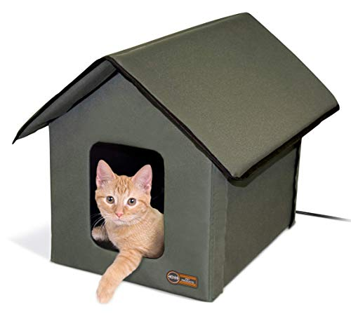 K&H Pet Products Outdoor Heated Kitty House Cat Shelter Olive 22 X 19 X 17 Inches