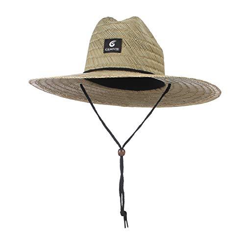 GEMVIE-Gorro de Paja para Mujer y Hombres Sombrero Paja Hombre Campo Sombreros Verano Sombrero de Playa para Anti-UV (Natural)
