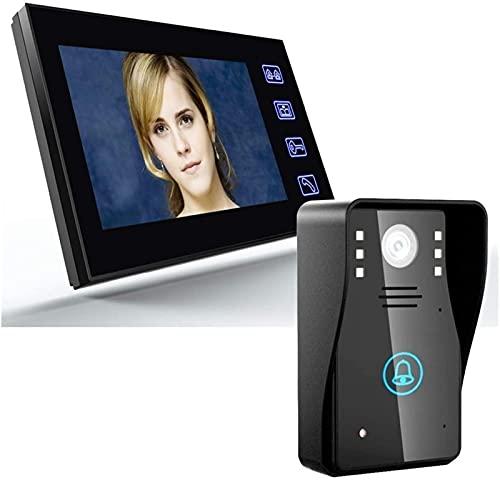 DZCGTP Video Kit de intercomunicador de Timbre de teléfono de videoportero de 7 Pulgadas Visión Nocturna con Timbre de cámara IR-Cut 1000TVL