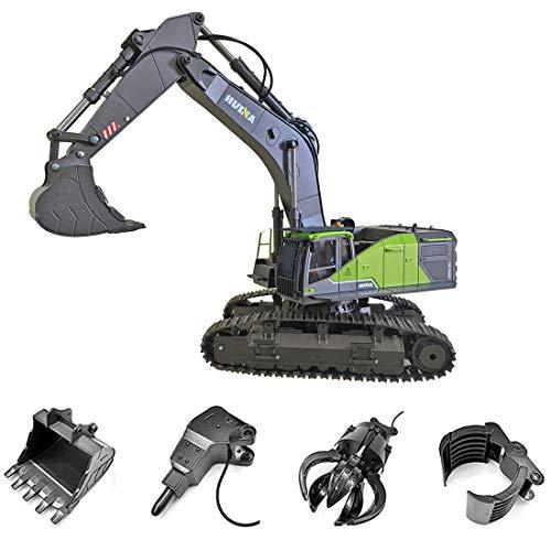 Myste Excavadora profesional 4 en 1 RC teledirigida 1:14 22CH 2.4G RC, con función completa, vehículos de construcción con iluminación LED, pala, rotación de 360°.