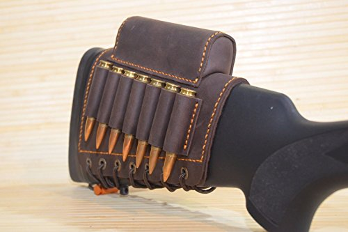 vsdfvsdfv Real Leather Rifle Cartridge Holder Buttstock Cheek Rest Pad Gun Vintage (Red-Brown Right)