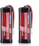 AWANFI 7,2V RC Akku 4200mah NiMH 2 Stücke Akkupack Modellbau Batterie Ersatzakku für RC Auto Boot Buggy (2 Pack)