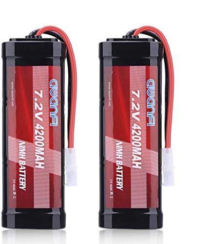 AWANFI Batería RC 7,2V 4200mAh NiMH Batería Recargable de 6 Celdas con Conector Tamiya para la Mayoría 1/10 de la Serie RC Coches, Traxxas, Redcat, LOSI, HPI, Tamiya, Kyosho RC Camiones (Paquete de 2)