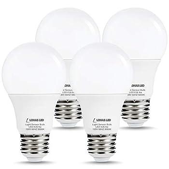 LOHAS Dusk to Dawn Sensor Light Bulb 40W Equivalent Smart Sensor LED Bulb 6W Auto On/Off Outdoor Light Bulbs Daylight 5000K A19 LED Bulb E26 Base 500LM Bright Light Bulb for Garage Porch 4 Pack