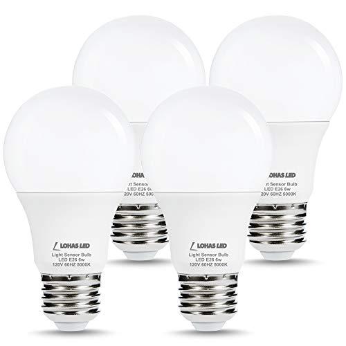 LOHAS Dusk to Dawn Sensor Light Bulb, 40W Equivalent Smart Sensor LED Bulb, 6W Auto On/Off Outdoor Light Bulbs, Daylight 5000K A19 LED Bulb, E26 Base 500LM Bright Light Bulb for Garage Porch, 4 Pack