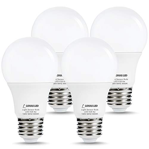LOHAS Dusk to Dawn Sensor Light Bulb, 40W Equivalent Smart Sensor LED Bulb, 6W Auto On/Off Outdoor Light Bulbs, Daylight 5000K A19 LED Bulb, E26 Base 500LM Bright Light Bulb for Garage Porch, 4 Pack
