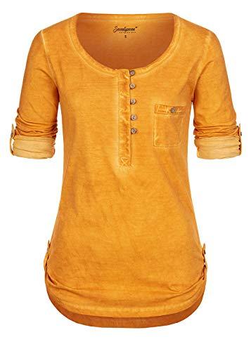 Seventyseven Lifestyle Damen Turn-Up Longsleeve Brusttasche Knopfleiste Curry senf gelb
