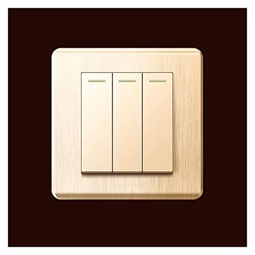 Cepillado panel de interruptores de oro de oro a prueba de polvo PC Durable Reprutador de Rocker Interruptor de luz Lámparas Single o Dual Control 1way, Interruptor de llave de 2 vías con indicador fl