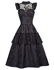 Gothic Victorian Steampunk Long Ruffled Dress Retro Vintage Halloween Party Dress Please use size chart we offered instead of Amazon's size chart. Please select the size carefully before you purchase it! Thank you Features: Sleeveless; V-Neck; Ruched...