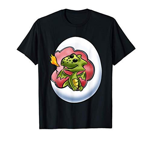 Bebé dragón en huevo niño niña niños gráfico animales moda Camiseta
