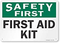 2個 安全第一-応急処置キット、金属サイン、8 'x 12'