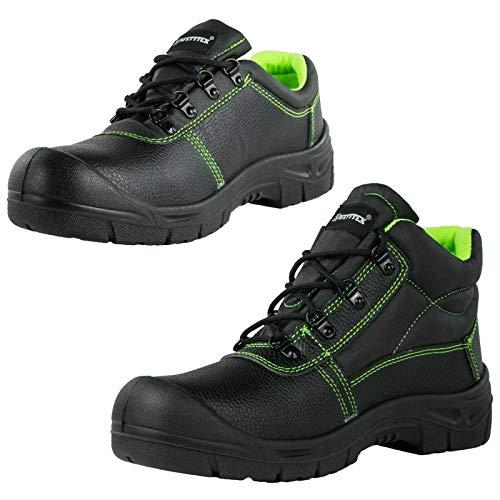 SAFETYTEX Sicherheitsschuhe S3 Stahlkappe Leder Arbeitsschuhe schwarz Schnürstiefel Halbschuhe leicht ergonomisch rutschhemmend, Halbschuh, 43