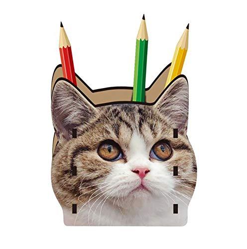 H.sheng DIY手作り 卓上収納ケース 筆立て 机上用品 木製 収納 小物入れ 可愛い 3D立体 猫柄 親子パズル 女の子プレゼント 学校文具 厚手 HS009-Brown cat