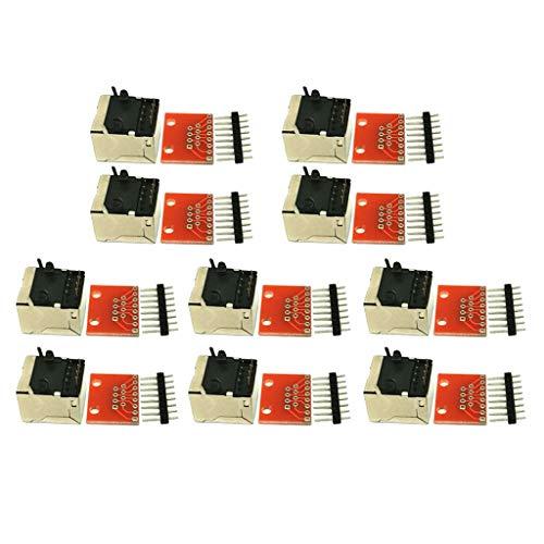 Almencla Conector RJ45 PCB, Úselo con Encabezadοs Separables para Hacer Placas de Prueba o Crεe su Propio Cable RJ45-10 Piezas