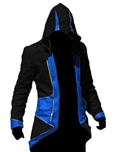 TEENTAGE Men's Costume Hoodie Jacket Cosplay Coat with Attachable Hood,Black and Blue,Kid-Small
