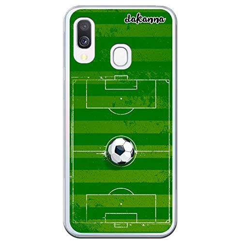 dakanna Funda para Samsung Galaxy A40 | Campo y balón de fútbol | Carcasa de Gel Silicona Flexible Transparente