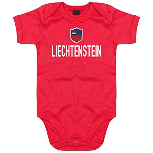 FanShirts4u Länder Baby Body - LIECHTENSTEIN - inkl. Druck Name & Nummer EM WM Trikot (3-6 Monate, Rot/LIECHTENSTEIN)