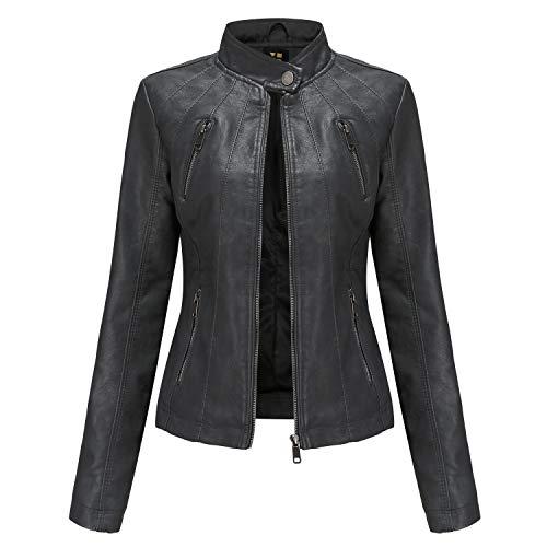 Tagoo Women's Faux Leather Jacket Motorcycle Coat for Biker