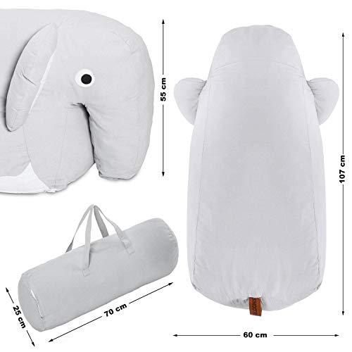 Smoothy Kindersitzsack Elefant - Tierform Sitzsack für Kinder - Kindermöbel XXL Stofftier aus Baumwolle - 7