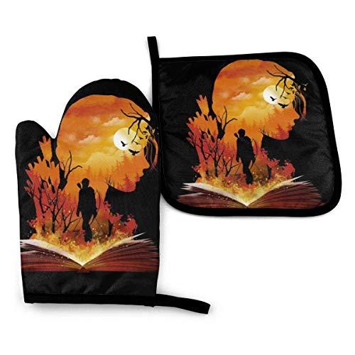 Hunger Games Katniss Silhouette Sonnenuntergang – Ofenhandschuhe und Topflappen, hitzebeständig, Küchenhandschuhe